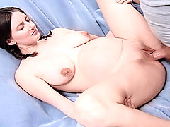 Early pregnancy brunette servicing two huge cocks